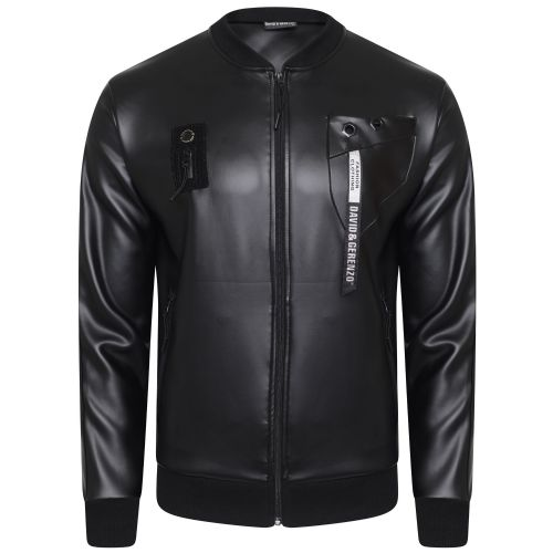Mens DG Italian Designer Satin Black Bomber Jacket Bolt Detail RRP £50